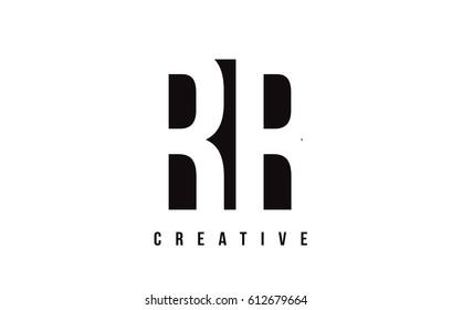 RR R White Letter Logo Design with Black Square Vector Illustration Template.