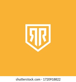 RR shield logo . double R in the shield with clean and modern design