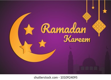 Rramadan kareem  greetings banner with golden moon in paper cut style backdround  EPS 10