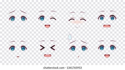 Rreal cartoon blue eyes of anime manga girls, in Japanese style. Set of various emotions