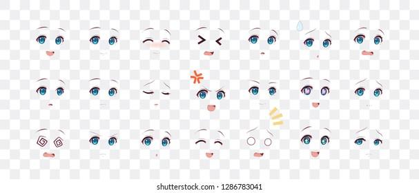 Rreal cartoon eyes of anime (manga) girls, in Japanese style. Set of various emotions