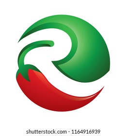 R-Red chili logo sphere icon vector