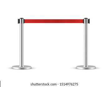 RRetractable belt stanchion. Portable ribbon barrier. Red fencing tape.