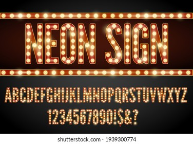 Rretro style neon lighting lamp letter, red-yellow colors font set.