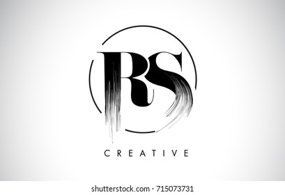 RS Brush Stroke Letter Logo Design. Black Paint Logo Leters Icon with Elegant Circle Vector Design.