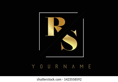 RS Golden Letter Logo with Cutted and Intersected Design and Square Frame Vector Illustration