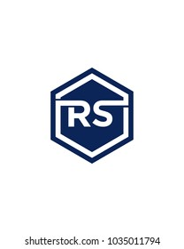 RS initial hexagon letter logo template vector
