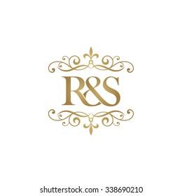 R&S Initial logo. Ornament ampersand monogram golden logo