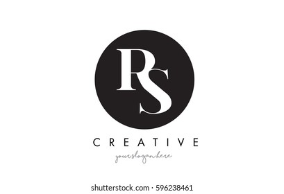 RS Letter Logo Design with Black Circle and Serif Font Vector Illustration.