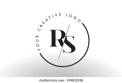 RS Letter Logo Design with Creative Intersected and Cutted Serif Font.