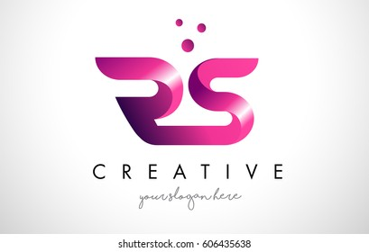 RS Letter Logo Design Template with Purple Colors and Dots