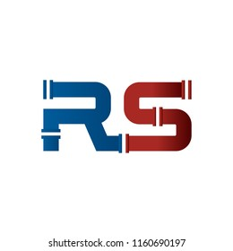RS letter logo  pipe plumbing vector template