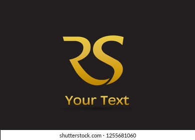 RS logo design in gold and silver color. Elegant and alphabet.