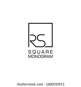 RS Logo design with square frame line vector illustration. isolated on white background