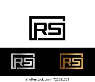 RS Logo. Letter Design Vector with Red and Black Gold Silver Colors