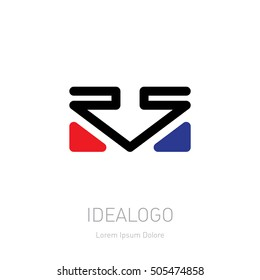 RS logo. Logotype template with arrow and triangles. Vector design element or icon.