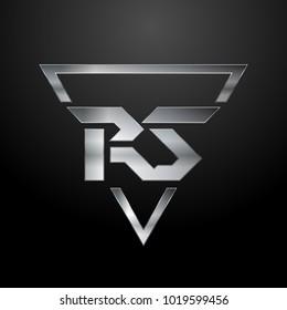 RS Logo, Metal Logo, Silver Logo, Monogram, Polygon