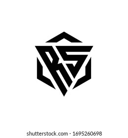 RS Logo monogram with triangle and hexagon modern design template isolated on white background