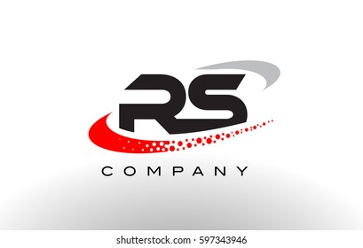 RS Modern Letter Logo Design with Creative Red Dotted Swoosh Vector