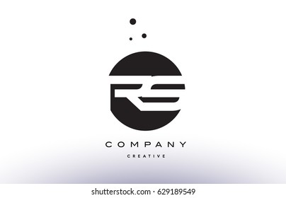 RS R S alphabet company letter logo design vector icon template simple black white circle dot dots creative abstract
