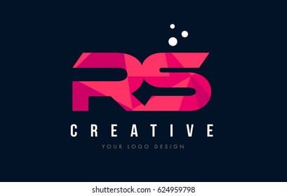 RS R S Purple Letter Logo Design with Low Poly Pink Triangles Concept
