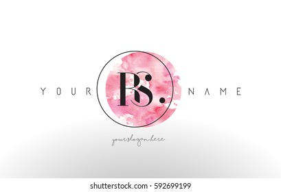 RS Watercolor Letter Logo Design with Circular Pink Brush Stroke.
