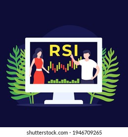 RSI trading indicator, vector illustration with people