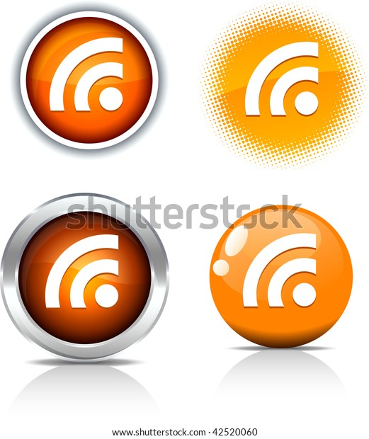 Rss beautiful buttons. Vector illustration.