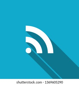 RSS icon isolated with long shadow. Radio signal. RSS feed symbol. Flat design. Vector Illustration