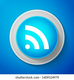 RSS icon isolated on blue background. Radio signal. RSS feed symbol. Circle blue button. Vector Illustration