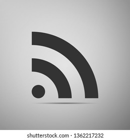 RSS icon isolated on grey background. Radio signal. RSS feed symbol. Flat design. Vector Illustration