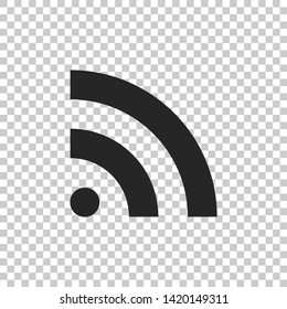 RSS icon isolated on transparent background. Radio signal. RSS feed symbol. Flat design. Vector Illustration