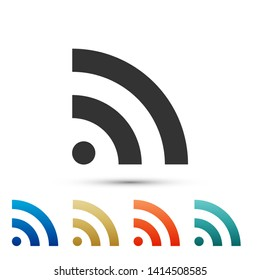 RSS icon isolated on white background. Radio signal. RSS feed symbol. Color set icons. Vector Illustration