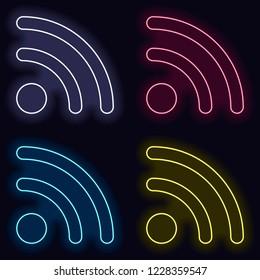 RSS icon. Set of fashion neon sign. Casino style on dark background. Seamless pattern