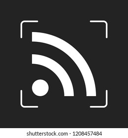 RSS icon. White object in camera autofocus on dark background