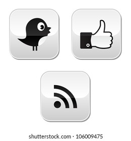 RSS icons Social media black glossy buttons set