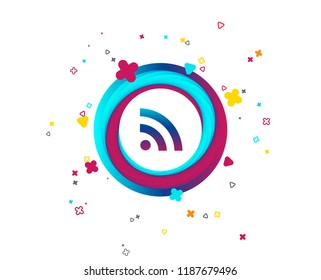 RSS sign icon. RSS feed symbol. Colorful button with icon. Geometric elements. Vector