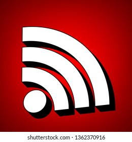 RSS sign icon. RSS feed symbol. Vector. Perspective view of white icon with black outline at reddish background.