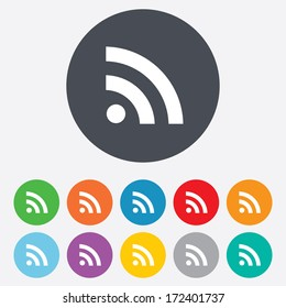 RSS sign icon. RSS feed symbol. Round colourful 11 buttons. Vector