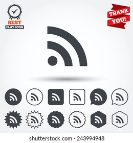RSS sign icon. RSS feed symbol. Circle, star, speech bubble and square buttons. Award medal with check mark. Thank you. Vector