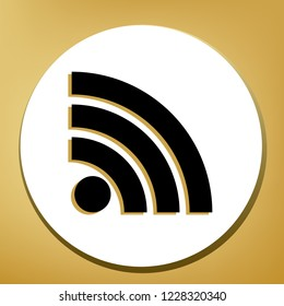 RSS sign illustration. Vector. Black icon with light brown shadow in white circle with shaped ring at golden background.
