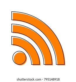 RSS sign illustration. Vector. Black line icon with shifted flat orange filled icon on white background. Isolated.