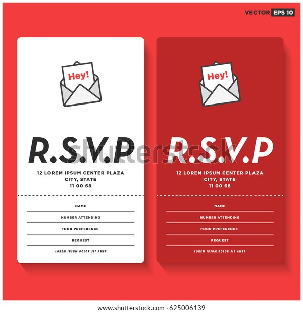 Rsvp Card Ui Design Name Venue Stock Vector (Royalty Free) 625006139