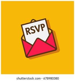 RSVP Envelope Flat Style