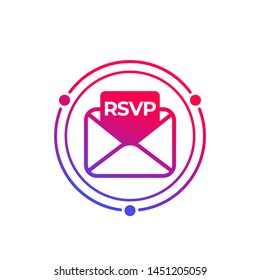 RSVP icon with envelope, vector