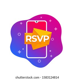 RSVP icon with smart phone, vector