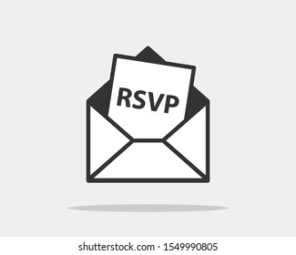 RSVP icon vector. Please respond letter in envelop. Answer on mail concept