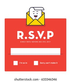 RSVP Layout Design with Response Text Box Template. Vector illustration of RSVP character.