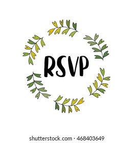 RSVP templates, labels, card. Wedding invitation with hand drawn lettering, flowers in simple style, Isolated