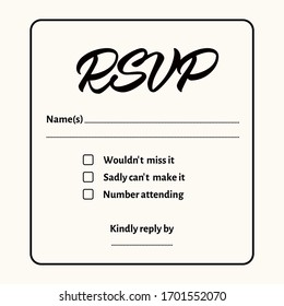 RSVP - wedding card template. Isolated elegant design with calligraphic inscription on light background. Great for wedding invitations, postcards. Responding card. Vector.